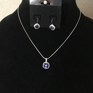 Necklace Amethyst and CZ with Matching Earrings